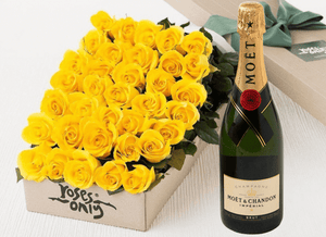 36 Yellow Roses Gift Box & Champagne - Roses Only