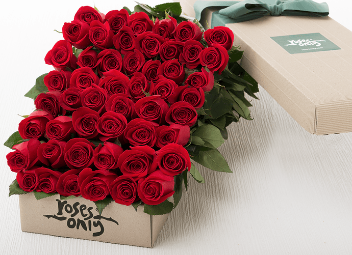 50 Red Roses Romantic Gift Box - Roses Only
