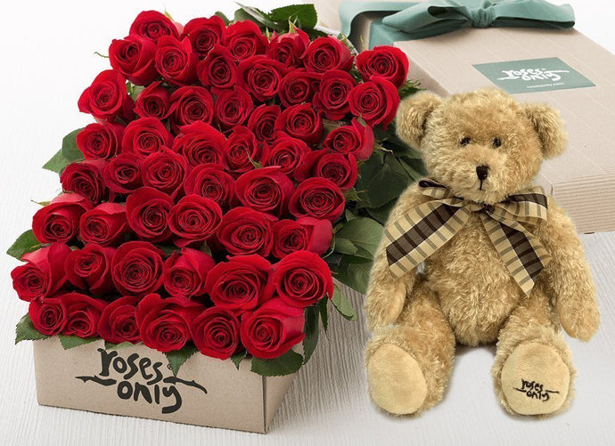 50 Red Roses Valentines Gift Box & Teddy Bear - Roses Only