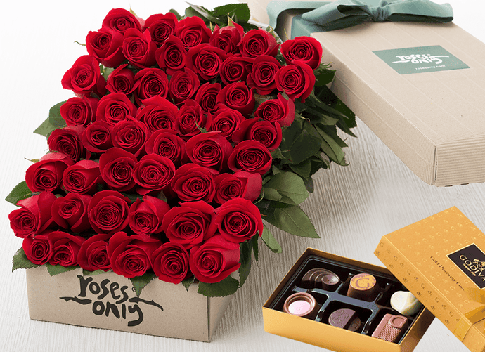 48 Red Roses Gift Box & Gold Godiva Chocolates - Roses Only