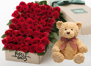 Red Roses Gift Box 50 & Teddy Bear