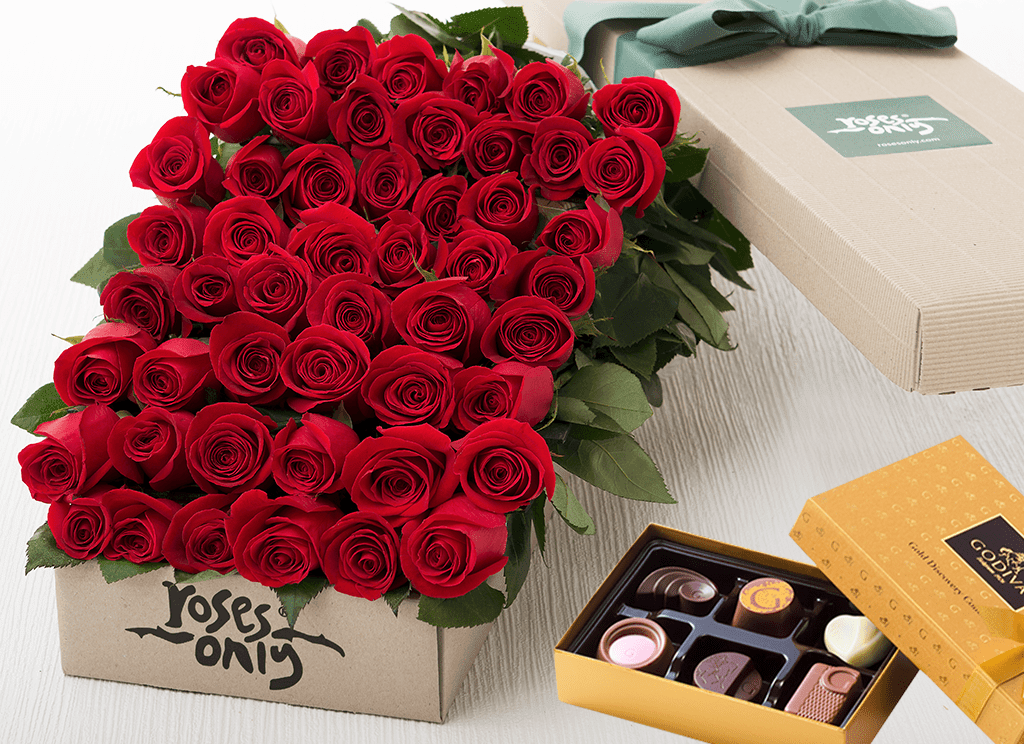 50 Red Roses Gift Box & Gold Godiva Chocolates - Roses Only