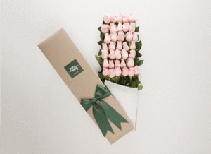 Pastel Pink Roses Gift Box 50 & Umbrella