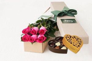6 Bright Pink Roses Gift Box & Gold Godiva Chocolates