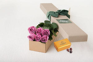 6 Mauve Roses Gift Box & Gold Godiva Chocolates