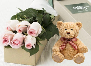 Pastel Pink Roses Gift Box 6 & Teddy Bear