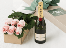 6 Pastel Pink Roses Gift Box & Champagne - Roses Only