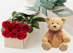 Red Roses Gift Box 6 & Teddy Bear