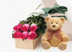 Bright Pink Roses Gift Box 6 & Teddy Bear