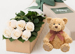 6 White Cream Roses Gift Box & Teddy Bear