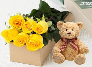 Yellow Roses Gift Box 6 & Teddy Bear