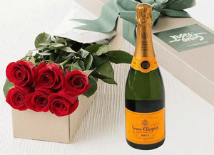 6 Red Roses Gift Box & Champagne - Roses Only