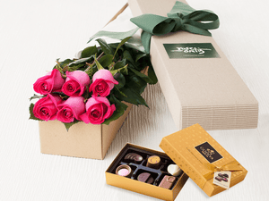 6 Bright Pink Roses Gift Box & Gold Godiva Chocolates - Roses Only