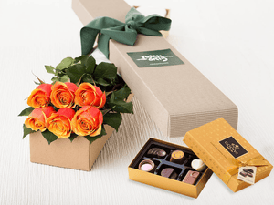 6 Cherry Brandy Roses Gift Box & Gold Godiva Chocolates - Roses Only