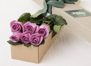 Mauve Roses Gift Box - 6 Long Stem Roses