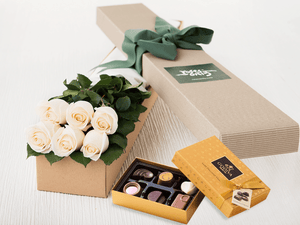 6 White Cream Roses Gift Box & Gold Godiva Chocolates - Roses Only