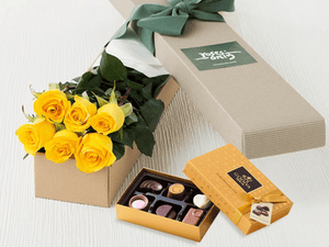6 Yellow Roses Gift Box & Gold Godiva Chocolates - Roses Only