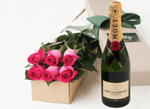 6 Bright Pink Roses Gift Box & Champagne - Roses Only