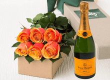 6 Cherry Brandy Roses Gift Box & Champagne - Roses Only
