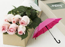 Pastel Pink Roses Gift Box 6 & Umbrella