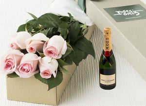 Pastel Pink Roses Gift Box 6 & Moet Chandon Brut Imperial (375ML)