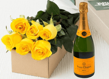 6 Yellow Roses Gift Box & Champagne - Roses Only