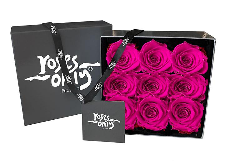 Bright Pink Infinity Preserved Roses - 9 Roses