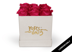 9 Bright Pink Rose Cube Hat Box - Roses Only