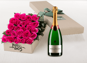Bright Pink Roses Gift Box 24 & Champagne