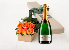 6 Cherry Brandy Roses Gift Box & Champagne