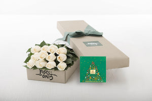 12 White Cream Roses Gift Box & Gold Godiva (10pc) Assorted Chocolates
