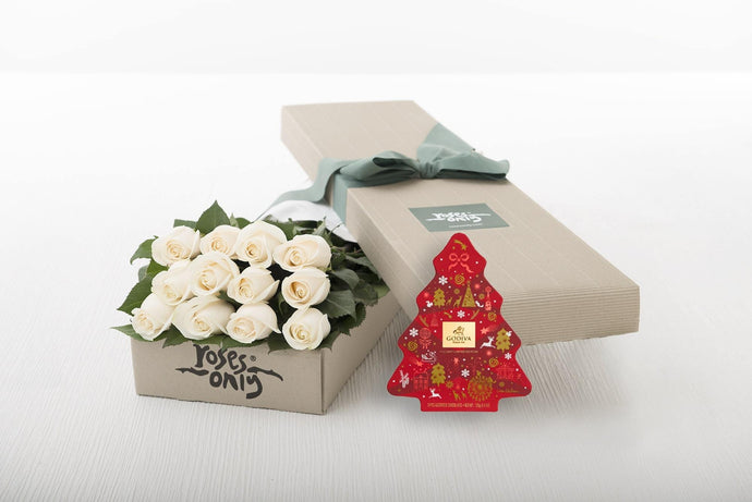 12 White Cream Roses Gift Box & Gold Godiva (11pc) Assorted Chocolates
