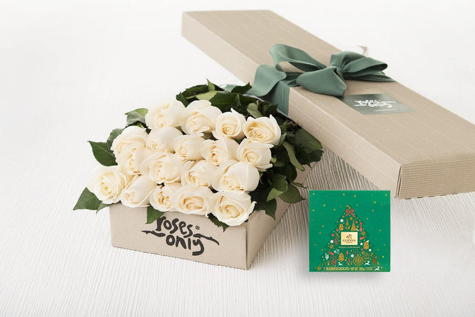 18 White Cream Roses Gift Box & Gold Godiva (10pc) Assorted Chocolates