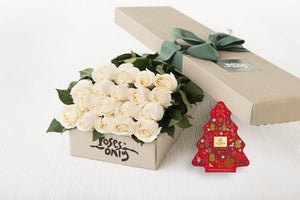 18 White Cream Roses Gift Box & Gold Godiva (11pc) Assorted Chocolates
