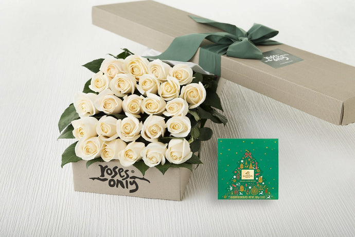 24 White Cream Roses Gift Box & Gold Godiva (10pc) Assorted Chocolates