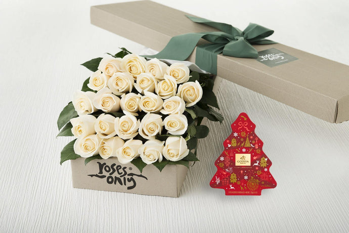 24 White Cream Roses Gift Box & Gold Godiva (11pc) Assorted Chocolates