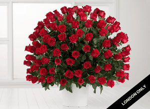 Deluxe+ 100 Red Rose Arrangement - Roses Only