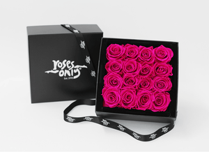 Mother's Day Stunning bright pink infinity roses, beautifully presented in a black box - Roses Only