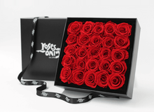 Stunning red infinity roses, beautifully presented in a black box