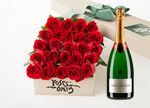 Red Roses Gift Box 24 & Champagne