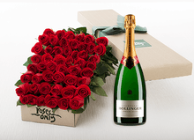 50 Red Roses Gift Box & Champagne
