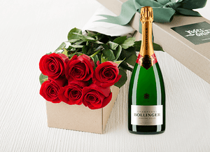 Red Roses Gift Box 6 & Champagne