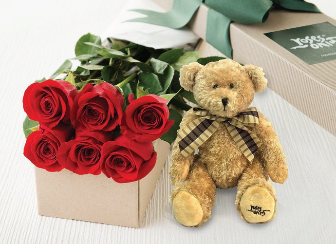 6 Red Roses Valentines Gift Box & Teddy Bear - Roses Only