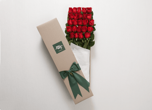 24 Red Roses Gift Box & Teddy Bear - Roses Only