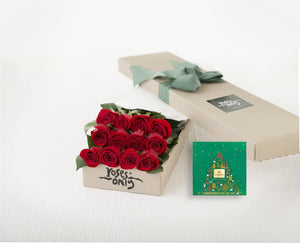 12 Red Roses Gift Box & Gold Godiva (10pc) Assorted Chocolates