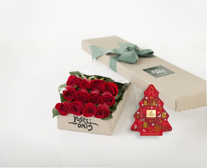 12 Red Roses Gift Box & Gold Godiva (11pc) Assorted Chocolates