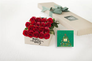 18 Red Roses Gift Box & Gold Godiva (10pc) Assorted Chocolates