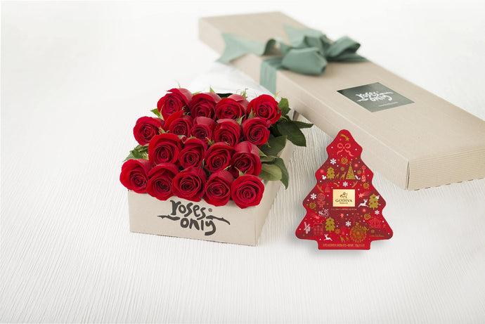 18 Red Roses Gift Box & Gold Godiva (11pc) Assorted Chocolates