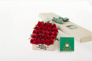 24 Red Roses Gift Box & Gold Godiva (10pc) Assorted Chocolates