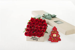 24 Red Roses Gift Box & Gold Godiva (11pc) Assorted Chocolates